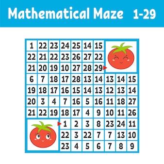 Labyrinthe carré coloré mathématique. aidez une tomate à passer à une autre.