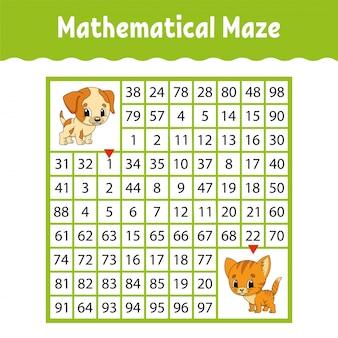 Labyrinthe carré coloré mathématique. feuille de travail de développement de l'éducation.