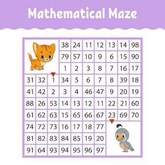 Labyrinthe carré coloré mathématique. feuille de travail pour le développement de l'éducation.