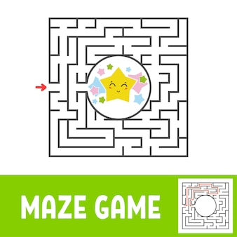 Labyrinthe carré de couleur. jeu pour les enfants. puzzle pour enfants. trouvez le chemin vers l'étoile mignonne.