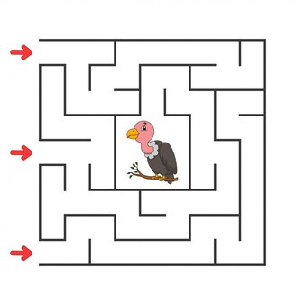 Labyrinthe carré drôle. jeu pour les enfants. puzzle pour enfants. personnage de dessin animé. énigme du labyrinthe. illustration vectorielle de couleur.