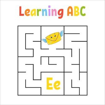Labyrinthe carré. feuille de travail de l'éducation.