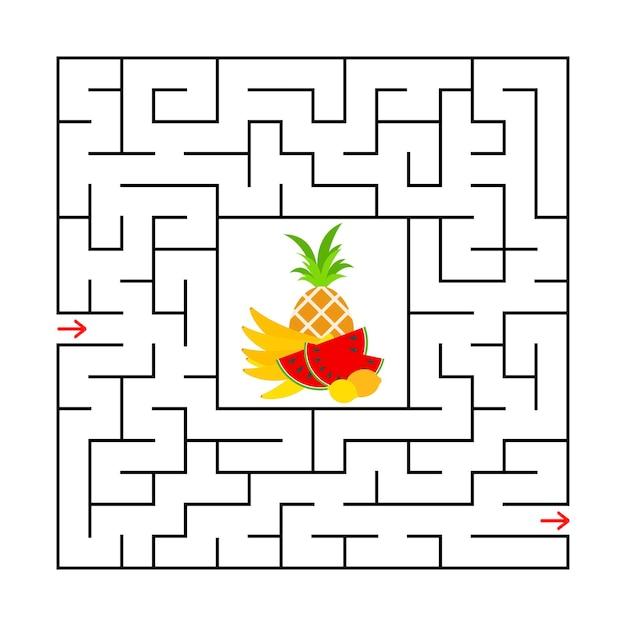 Labyrinthe carré avec une feuille de travail éducative en couleur