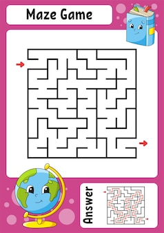 Labyrinthe carré. jeu pour les enfants. labyrinthe drôle. feuille de travail de développement de l'éducation. page d'activité. puzzle pour les enfants.