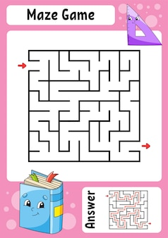 Labyrinthe carré. jeu pour les enfants. labyrinthe drôle. feuille de travail de développement de l'éducation. page d'activité.