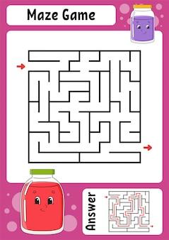 Labyrinthe carré. jeu pour les enfants. labyrinthe drôle. feuille de travail pour le développement de l'éducation. page d'activité.