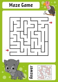 Labyrinthe carré. jeu pour les enfants. labyrinthe drôle.