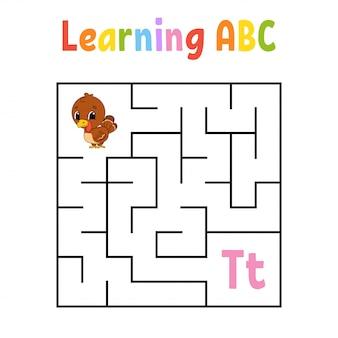 Labyrinthe carré. jeu pour les enfants. oiseau de dinde. labyrinthe quadruple. feuille de travail sur l'éducation.