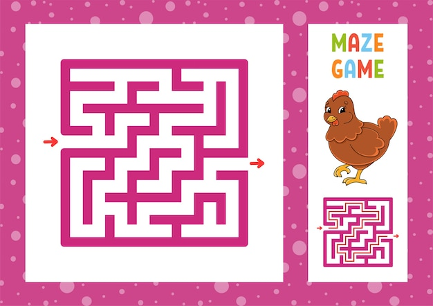 Labyrinthe carré. jeu pour les enfants. puzzle pour les enfants. caractère heureux. énigme du labyrinthe.