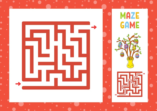 Labyrinthe carré. jeu pour les enfants. puzzle pour les enfants. caractère heureux.