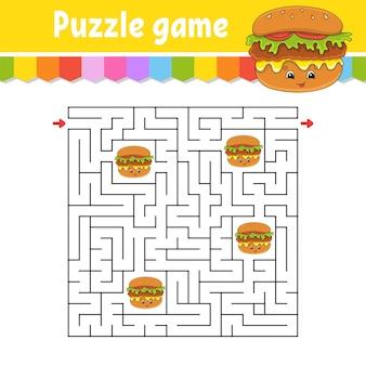Labyrinthe carré. jeu pour les enfants. puzzle pour les enfants. énigme du labyrinthe.