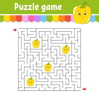 Labyrinthe carré. jeu pour les enfants.