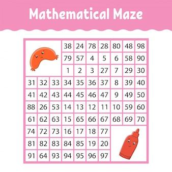 Labyrinthe carré mathématique. jeu pour les enfants. labyrinthe de nombre.