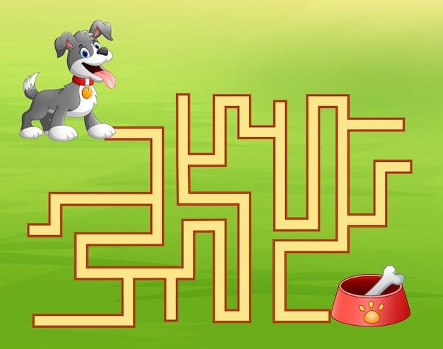 Labyrinthe de chien de jeu trouve le chemin vers le conteneur de nourriture pour chien