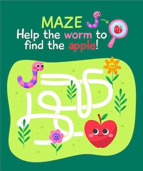 Labyrinthe coloré mignon pour les enfants