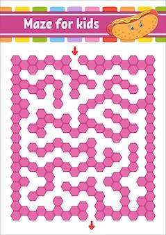 Labyrinthe De Couleur Rectangulaire. Jeu Pour Les Enfants. Labyrinthe Drôle. Feuille De Travail De Développement De L'éducation. Vecteur Premium