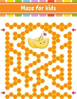 Labyrinthe de couleur rectangulaire. jeu pour les enfants. labyrinthe drôle.