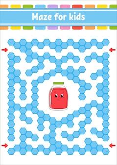 Labyrinthe de couleur rectangulaire. jeu pour les enfants.
