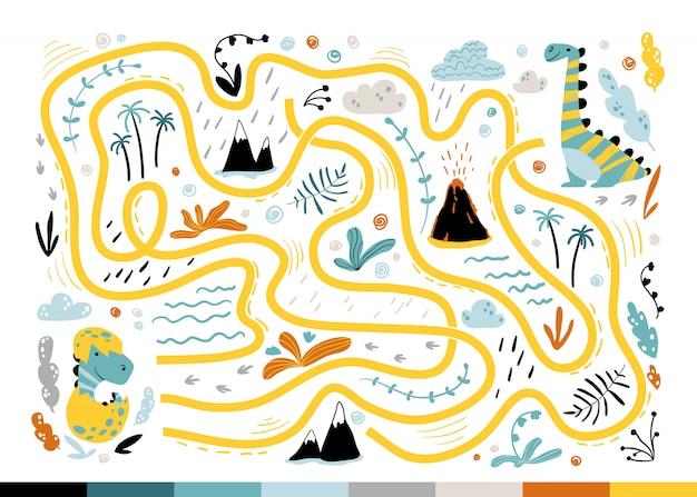 Labyrinthe de dino. mini-jeu cool pour enfants pour le développement.