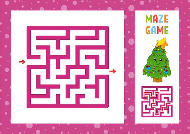 Labyrinthe drôle. jeu pour les enfants. puzzle pour enfants. caractère heureux.