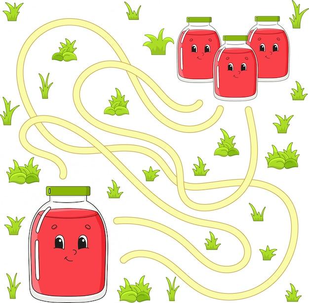 Labyrinthe drôle. jeu pour les enfants. puzzle pour enfants. personnage de dessin animé. énigme du labyrinthe.