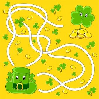 Labyrinthe drôle pour les enfants. chapeau, trèfle. fête de la saint-patrick. énigme du labyrinthe.