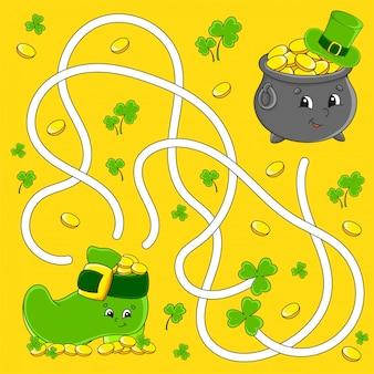 Labyrinthe drôle pour les enfants. pot, démarrage. fête de la saint-patrick. puzzle pour enfants. énigme du labyrinthe.