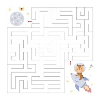 Labyrinthe éducatif avec un petit tamia sur fusée
