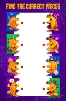 Le labyrinthe des enfants d'halloween trouve les bons morceaux de citrouille. associez les moitiés du jeu de société vectoriel avec des bonbons, une citrouille-lanterne et une toile d'araignée. tâche de puzzle avec des bonbons, énigme pour l'activité éducative des enfants