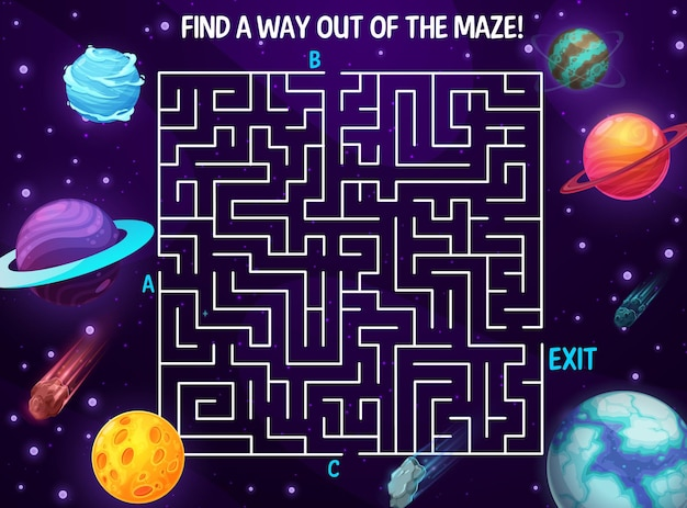 Labyrinthe de l'espace, galaxie de dessin animé. jeu de société vectoriel pour enfants avec des planètes et des météores dans le cosmos profond. jeu de société avec chemin dans l'espace avec trois entrées et une sortie. devinette avec le monde fantastique cosmique