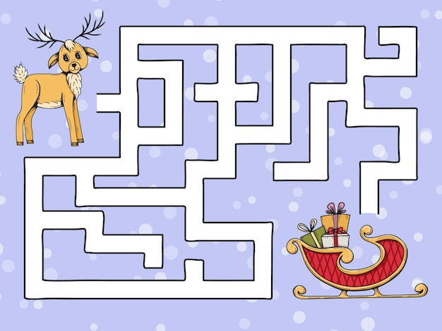 Labyrinthe de jeu pour enfants. aidez le cerf à trouver le traîneau du père noël. style de griffonnage.