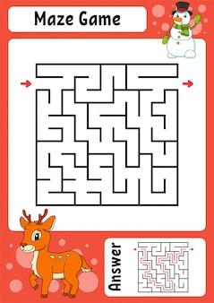 Labyrinthe. jeu pour les enfants. labyrinthe drôle. feuille de travail pour le développement de l'éducation. page d'activité. puzzle pour enfants. style de dessin animé mignon.