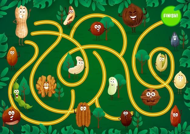 Labyrinthe de jeu pour enfants avec des personnages de dessins animés de noix.