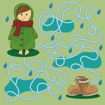 Labyrinthe des jours de pluie pour les enfants - jeu éducatif
