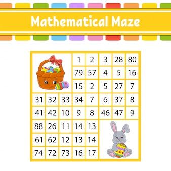 Labyrinthe mathématique. jeu pour les enfants. labyrinthe de nombre. feuille de travail pour le développement de l'éducation.