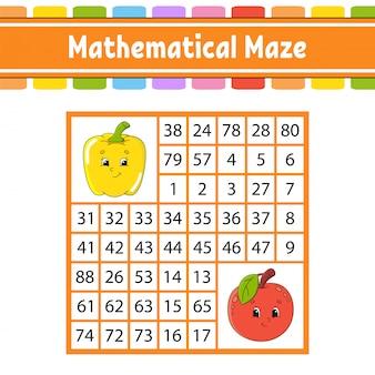 Labyrinthe mathématique. jeu pour les enfants. labyrinthe de nombres. feuille de travail de développement de l'éducation.