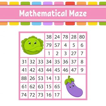 Labyrinthe mathématique. jeu pour les enfants. labyrinthe de nombres.