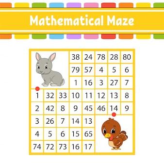 Labyrinthe mathématique. jeu pour les enfants. nombre labyrinthe.