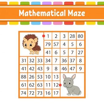 Labyrinthe mathématique. jeu pour les enfants. nombre de labyrinthe.