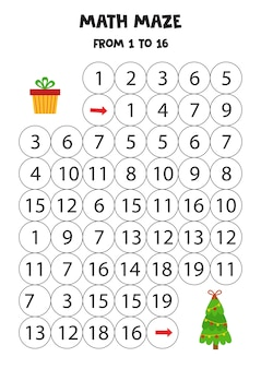 Labyrinthe de mathématiques avec arbre de noël et boîte cadeau. feuille de travail pédagogique. comptez de 1 à 16.
