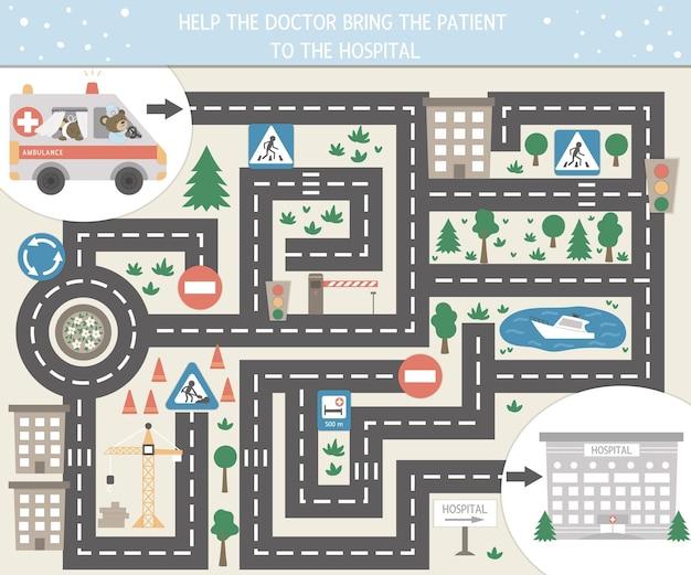 Labyrinthe Médical Pour Enfants Vecteur Premium