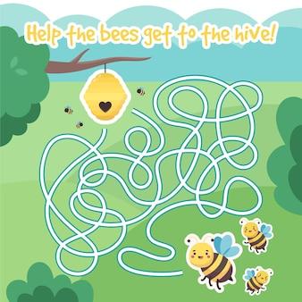 Labyrinthe mignon pour les enfants avec des abeilles