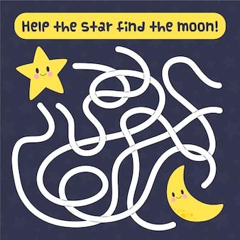 Labyrinthe mignon pour les enfants avec étoile et lune