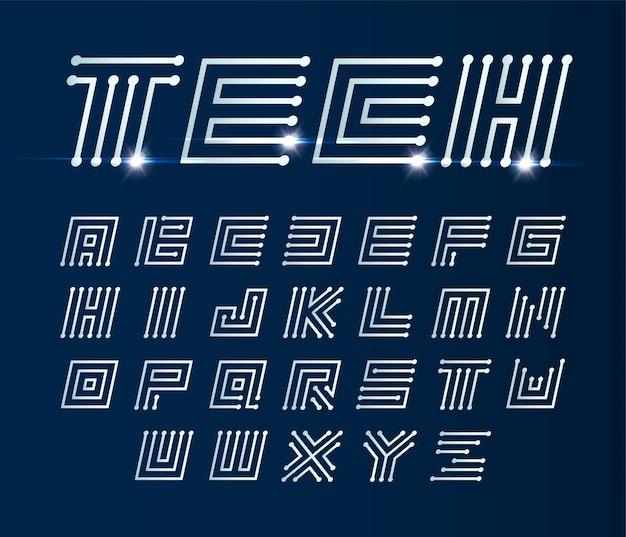 Labyrinthe de polices italique, alphabet géométrique de vecteur sur bleu foncé