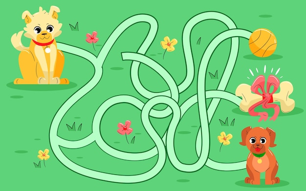 Labyrinthe pour les enfants avec des chiens mignons