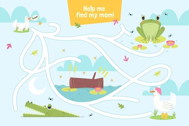 Labyrinthe pour enfants avec différents animaux