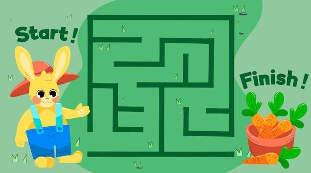 Labyrinthe pour enfants avec lapin et carottes