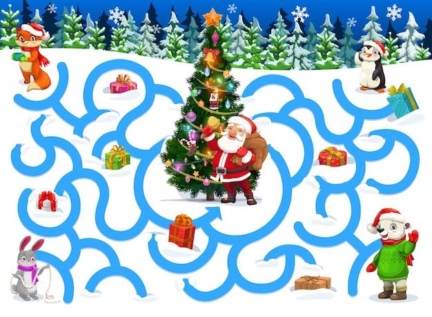 Labyrinthe pour enfants avec des personnages de dessins animés de noël