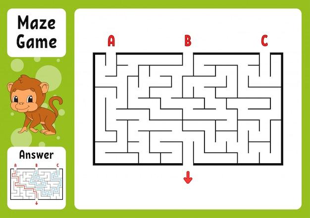 Labyrinthe rectangle. jeu pour les enfants. trois entrées, une sortie.
