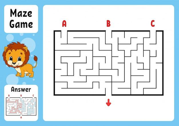 Labyrinthe rectangle. jeu pour les enfants.